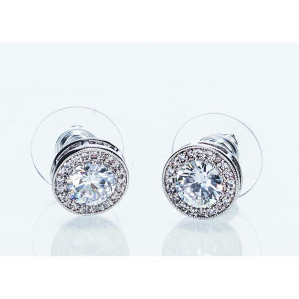 Silver White Stone and Diamante Earrings