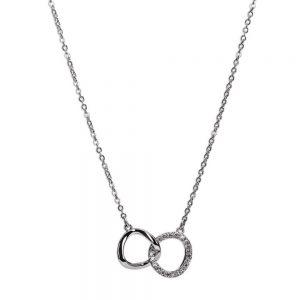 Silver Interlocking Diamante Rings Necklace