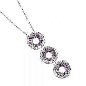 Large Necklace Three Purple Drop Silver