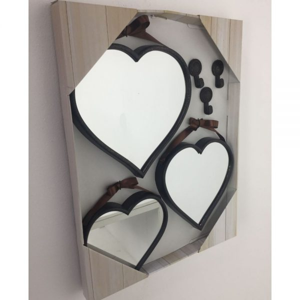Set of 3 Bronze Colour Heart Mirrors Assorted Size