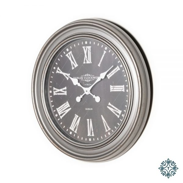 Jana Oversize Rustic Grey Wall Clock