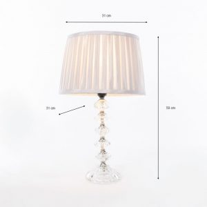 Bianca Table Lamp With Grey Pleated Shade