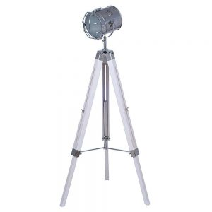 Capstan White and Silver Metal Tripod Floor Lamp