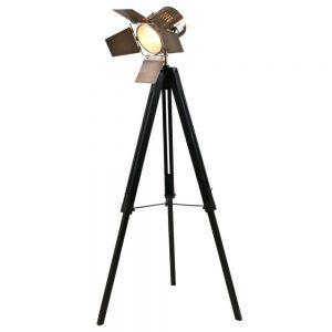 Black & Antique Brass Metal Tripod Floor Lamp