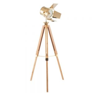 Hereford Gold and Natural Tripod Floor Lamp
