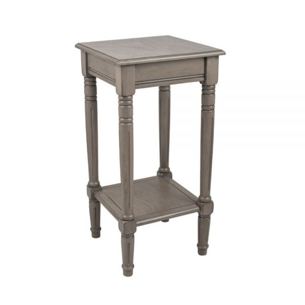Heritage Taupe Pine Wood Square Accent Table