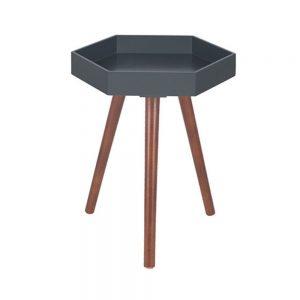 Grey MDF & Brown Pine Wood Hexagon Table