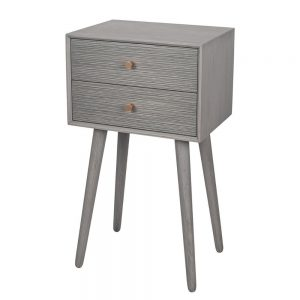Chaya Dark Grey Pine Wood 2 Drawer Bedside Table