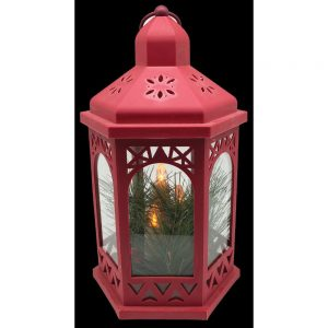 Red Lantern with 3 LED Candles