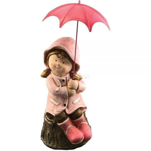 Girl on Log with Pink Umbrella