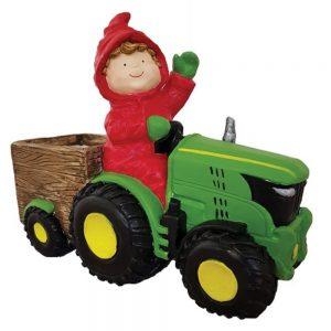 Boy on Green Tractor Planter
