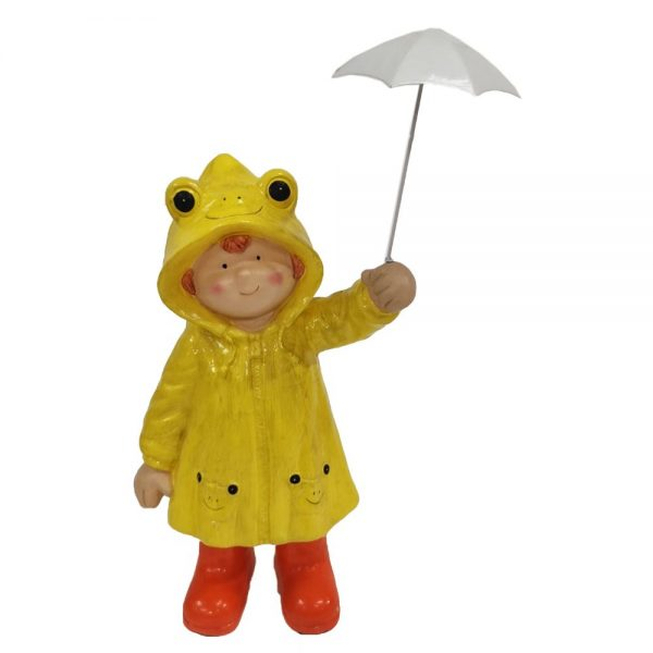 Boy in Yellow Raincoat with Umbrella