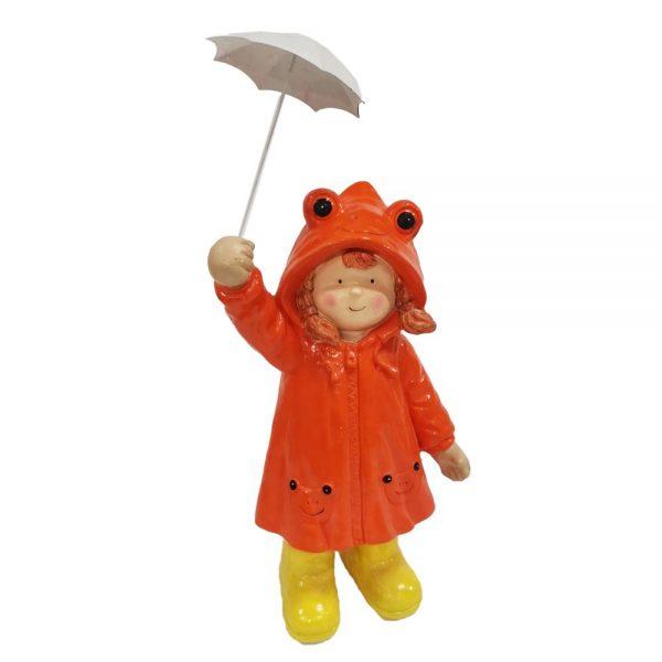 Girl in Orange Raincoat with Umbrella