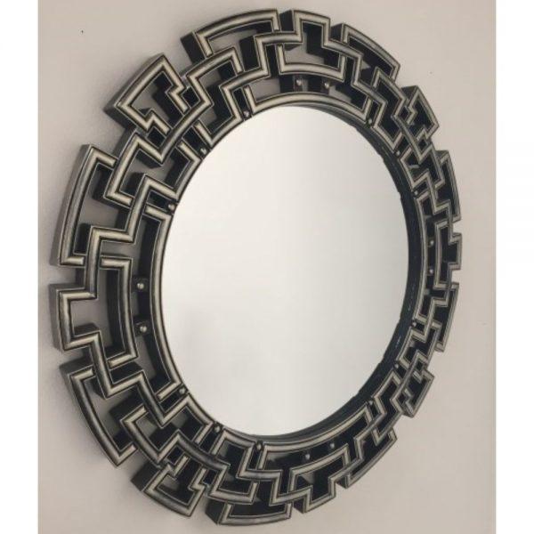 Shakour Gunmetal Round Mirror