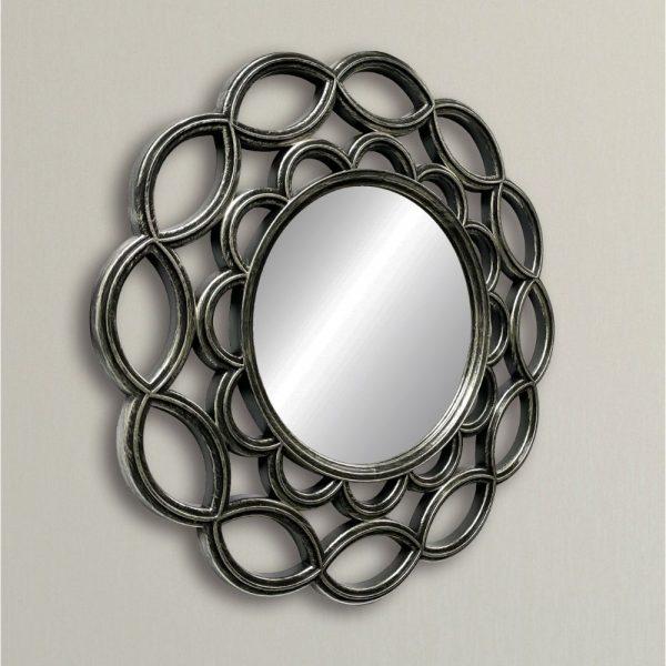Round Scalloped Design Antique Silver Mirror