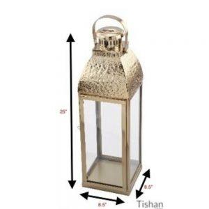 Hammered Lantern Gold Height 25in