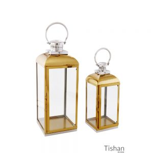 Set of 2 Gold and Silver Lanterns Hammered Top