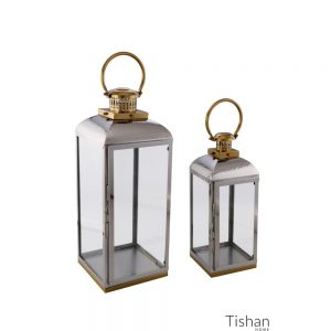 Set of 2 Lanterns Silver and Gold Hammered Top