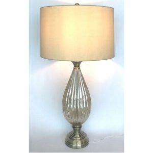 Venice Table Lamp Ribbed Amber Glass H35.5in