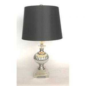 """Turin Table Lamp Silver Glass Base Black Shade Height 25"""""""