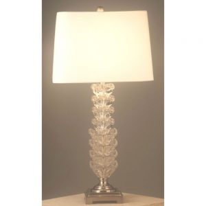 Hydrus Table Lamp Glass Base White Shade H32in