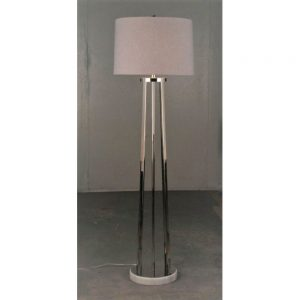 Milos Nickel Floor Lamp with White Shade H59in