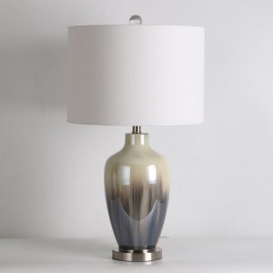 Carmona Table Lamp Grey Glass H28inch