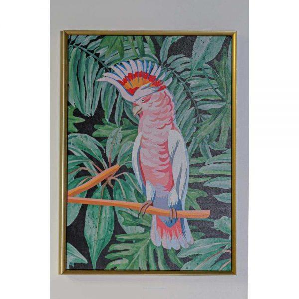 Pink Bird Framed Canvas