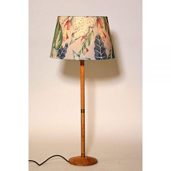 Oak Wood Table Lamp Tropical Design Shade