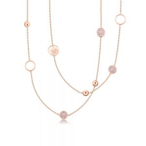 Romi Rose Gold Pave and Bead Necklace