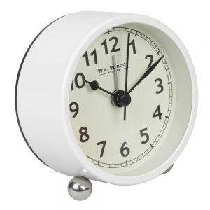 Metal Cased White Round Alarm Clock