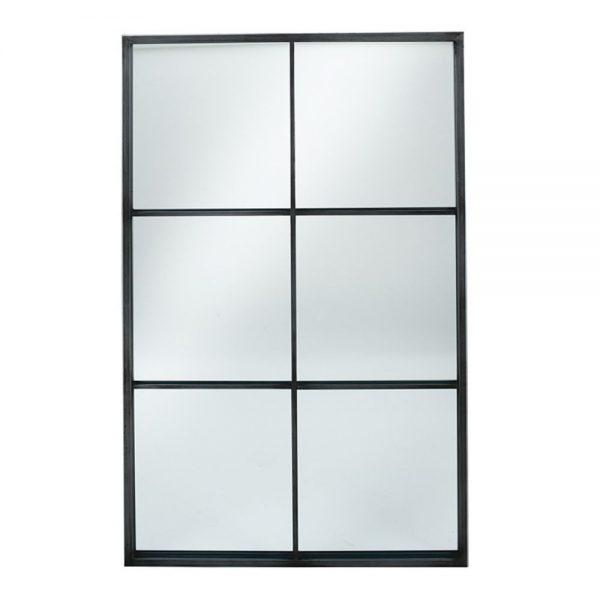 Dark Grey Metal 6 Section Oblong Wall Mirror