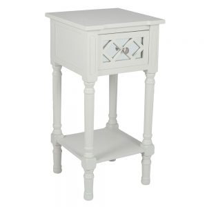 Puglia Ivory Mirrored Pine Wood Accent Table