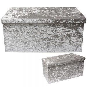 Light Grey Velvet Folding Storage Box