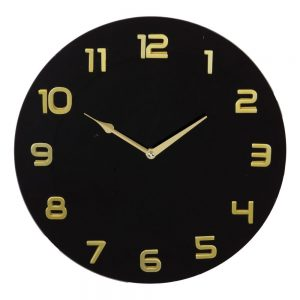 Hometime Black Glass Wall Clock Arabic Dial D35cm