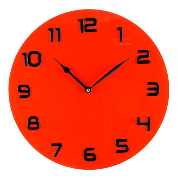 Hometime Glass Wall Clock Red
