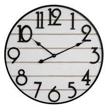 Wall Clock White Planks Arabic Dial