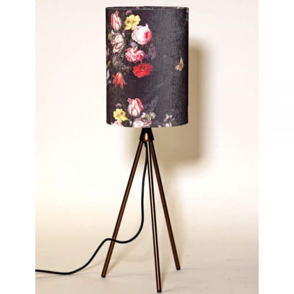 Tripod Table Lamp with Corduroy With Floral Shade