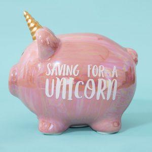 Ceramic Pig Money Bank Unicorn