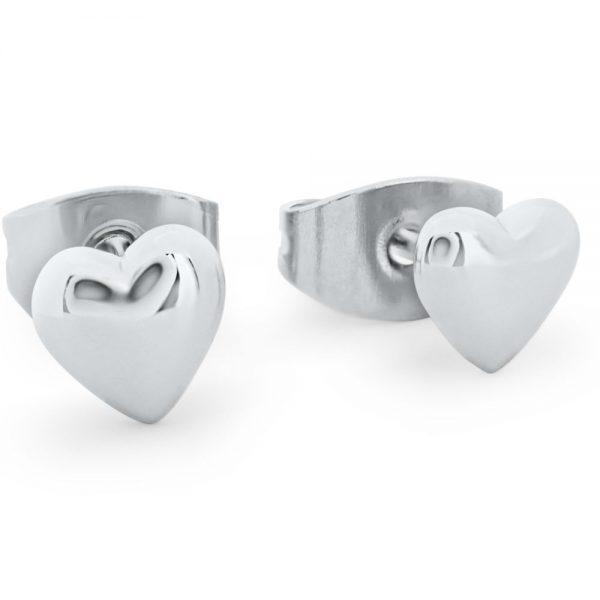 Heart 8mm Stud Earrings Silver