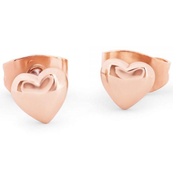 Heart 8mm Stud Earrings Rose Gold