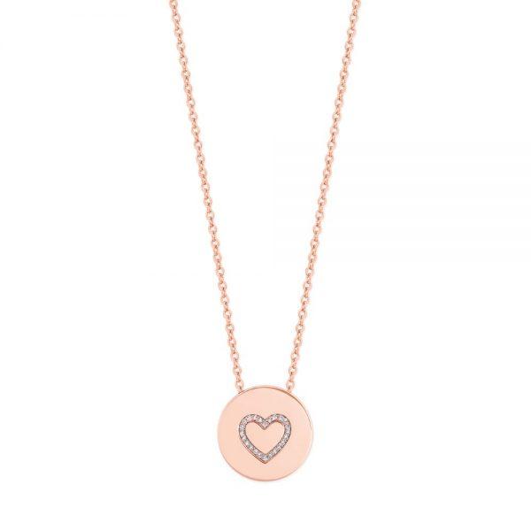 Heart Outline Heart Pendant Rose Gold