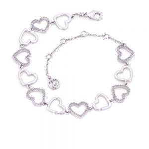 Heart Bracelet Open Hearts Silver