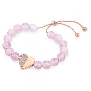 Heart Pink Beads Bracelet Rose Gold