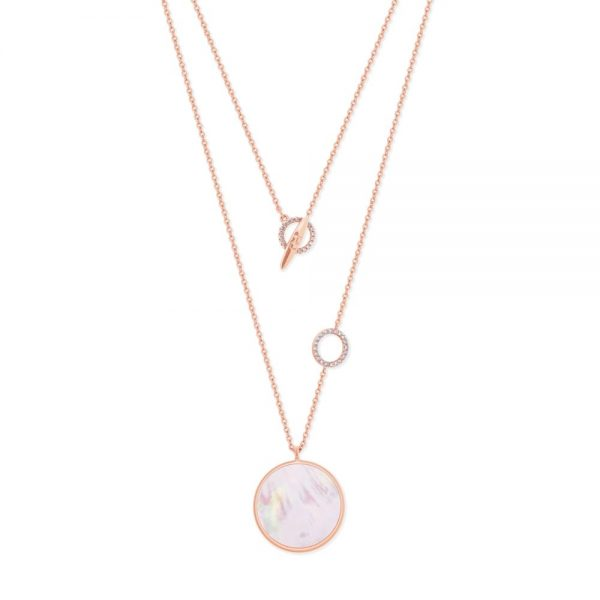 Full Moon Pendant With Cz Rings Rose Gold