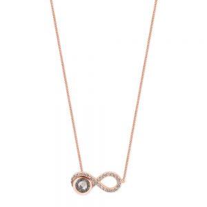 Infinity Pendant Grey Topaz Rose Gold