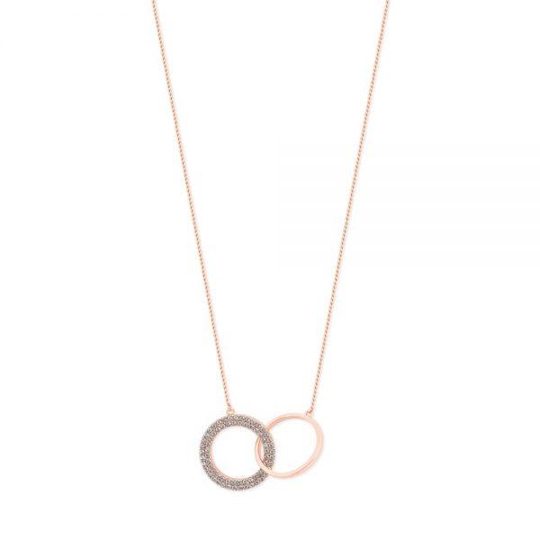 Infinity Rings Pendant Grey Topaz Cz Rose Gold