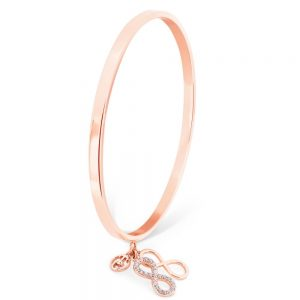 Infinity Bangle With Charms Rose Gold