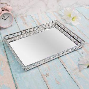 Silver Crystal Tray 35x23cm