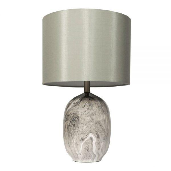 Ember Ceramic Table Lamp Grey Linen Shade